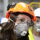 Jacinda Ardern wears full safety equipment while visiting the New Zealand Aluminium Smelter plant...
