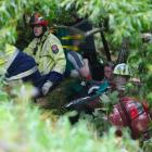 Emergency services work to free a man trapped down a bank near Mosgiel. Photo: Gerard O'Brien