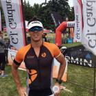 Lake Hayes Triathlon winner Adam Wilson, of Queenstown, at the finish line. PHOTO: JOSHUA WALTON
