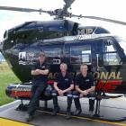 Showing off Queenstown's new dedicated rescue helicopter are Otago Rescue Helicopter's Queenstown...