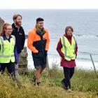 Phoebe Morrison (left), Dunedin City Council parks and recreation planner Stephen Hogg (second...