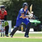 Otago Sparks batsman Alice Davidson-Richards sets off for a run to bring up her 50 against...