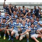 St Kentigern College first XV celebrates winning the 2017 Auckland 1A competition. Photo: Getty...