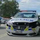 A police car was damaged during a chase in Wanaka this morning. Photo: Sean Nugent