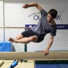 ODT reporter Jono Edwards learns parkour from Pro-Motion head coach Alex Pearson. Photo: Stephen...