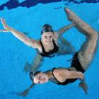 Nina and Lisa Daniels warm up at Moana Pool after being selected for the 2008 Beijing Olympic...