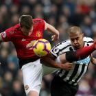 Newcastle United's Salomon Rondon in action with Manchester United's Phil Jones. Photo: Reuters