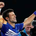 Novak Djokovic celebrates his victory over Lucas Pouille. Photo: Reuters