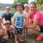 Meyer extended family members (from left) Ella (4) and Daniel (3) Colbran, of Christchurch, Emma...