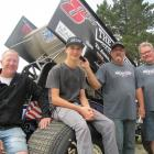 Speedway movers and shakers (from left) driver Daniel Anderson, of Te Anau, driver Buddy Kofoid,...