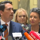 National leader Simon Bridges with Paula Bennett (right) and Judith Collins at Parliament today....