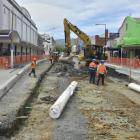 The latest work on Dunedin's new bus hub involves deep excavations on Great King St to flatten...
