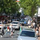 Shoppers throng to Dunedin's George St on Boxing Day. Photo: Stephen Jaquiery