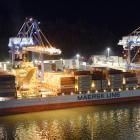 Port Otago's second container crane, at right, is under repair until midweek. Photo: Gerard O'Brien