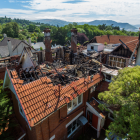 Bird's-eye shot of the damage to the Glamis Hospital after a fire last year. Photo: NZ Police