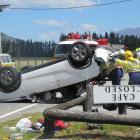 The Suzuki Vitara which overturned outside the Makarora Country Cafe yesterday. Photo: Mark Price