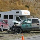 The wreckage of two vehicles after a head-on collision on Cardrona Valley Rd yesterday. Photo:...
