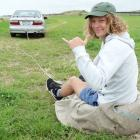 Patrick Ens gets set for some grass surfing at his family's Kakanui property yesterday. The 19...