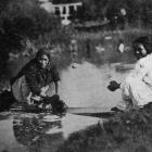 Maori women doing their washing at Ohinemutu, Rotorua. — Otago Witness, 8.1.1919.