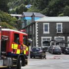 Firefighters at the scene at Carey's Bay Hotel on Wednesday afternoon. Photo: Christine O'Connor