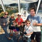 Enjoying the gondola on board the Ovation of the Seas are (from left) Cheryl Willis, Jesse Willis...