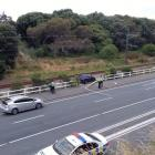 The car which came off the road onto the railway tracks. Photo: RNZ