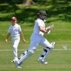 North Otago batsman Hunter Growcott (12) sets off for a run against Marlborough during the South...