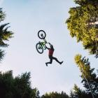 Queenstown rider Conor MacFarlane performs a Superman Indian air trick during a jump jam at...
