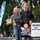 Kath Kelly and Austin Garden with the spoils after winning the mixed teams grade at the Defiance...