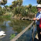 Conservationist Russell Langdon shows Labour list MP Jo Luxton around the Riverside Conservation...