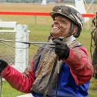 Sheree Tomlinson is all smiles  after driving  War Admiral to victory  at Cromwell yesterday....