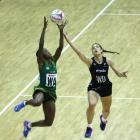 South Africa SPAR Proteas Bongiwe Msomi (left) and New Zealand Silver Ferns Karin Burger battle...