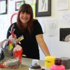 Hannah Breeze with a contempary art piece. Contempary art was about the creative process rather...
