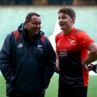Steve Hansen (left) talks with Beauden Barrett at Twickenham at the end of last year. Photo:...