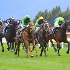 Tommy Tucker (yellow and green blinkers), with Shankar Muniandy aboard, speeds past Gallant Boy ...