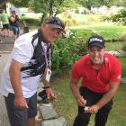 Caddie Tracy Tatom (left) and last year's New Zealand Open winner Daniel Nisbet are all smiles...