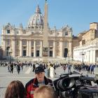 Darryl Smith being interviewed by Australian media in St Peter's Square yesterday, after being...