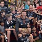 Black Caps bowlers Matt Henry (left) and Trent Boult inspire a future generation of active...