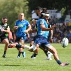 Augustine Pulu of the Blues during the Super Rugby pre-season match between the Hurricanes and...