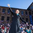 Democratic Senator Elizabeth Warren at the launch of her presidential bid in Lawrence,...