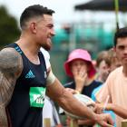 Sonny Bill Williams chats to fans during the Super Rugby pre-season match between the Blues and...