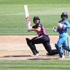 White Fern Suzie Bates hits away to the leg side. Photo: Getty Images