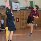 Nicolas Alvarez Rey-Zirang (13), of Logan Park High School leaps high while trying to get the...