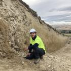 University of Otago geology PhD student Jonathan Griffin works on the Hyde Fault, at the foot of...