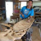 Carver James York works on one of his carvings. Photos: Supplied