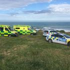 Emergency services at the scene of Tuesday's drownings at Kakanui in North Otago. Photo: Hamish...