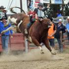 Loche Cowan (15), of Kurow, competes in the Trans-Tasman bullride at the Outram rodeo earlier...