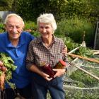 Gordon Pittaway and Ann Trevathan in their Wanaka garden with produce for the homecraft section...