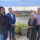 Carver Rick Ngamoki, of Waitaki, (far left) with (from second left) Dr John Ward, of Invercargill...