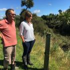 Peter Bonifacio and Rosemary Bird check out some of the native regeneration behind a fence wired...
